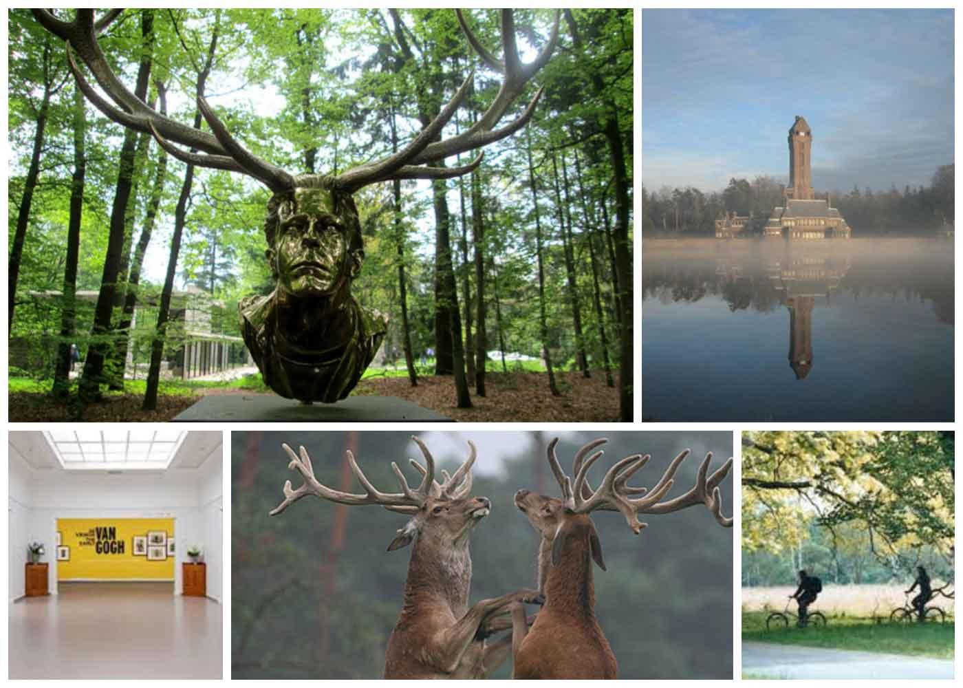 Nationaal Park de Hoge Veluwe. Kroller-Muller museum. Beeldemtuin. St- Hubertus